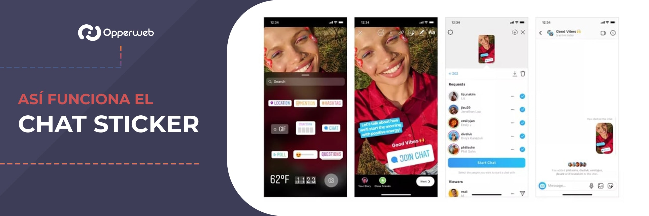 funcionamiento del chat sticker de instagram